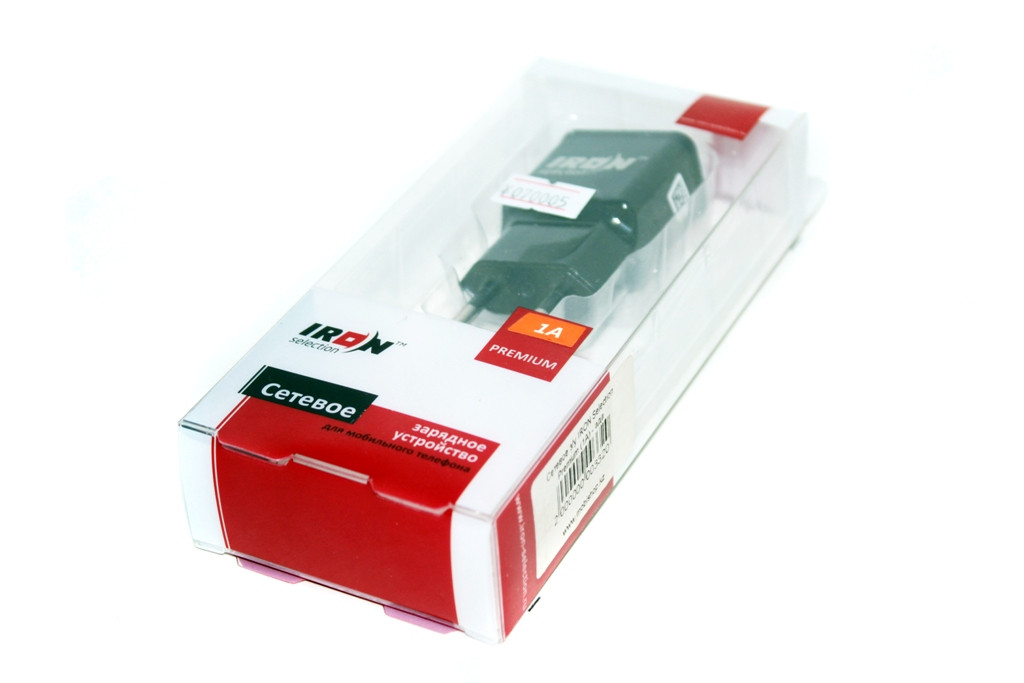 Сетевой USB адаптер IRON, 1 USB 5V 1A, черный