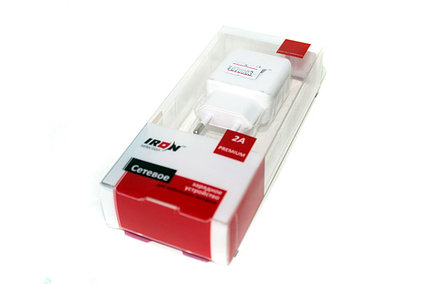 Сетевой USB адаптер IRON, 2 USB 5V 2A, белый