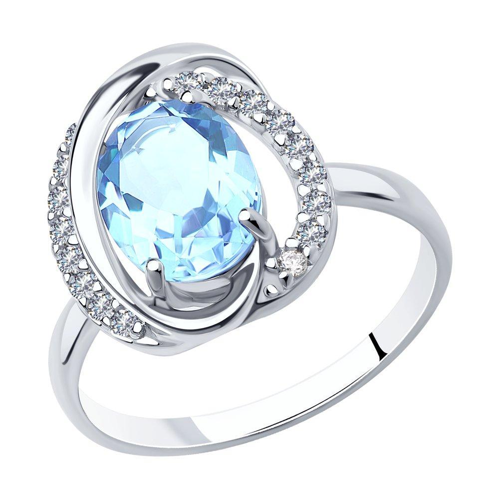 Кольцо из серебра с натуральным топазом