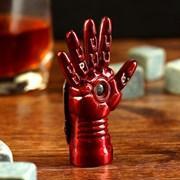 """Зажигалка электронная """"Рука"""", USB, спираль, бордовая, 2х5х7.5 см, фото 2"""