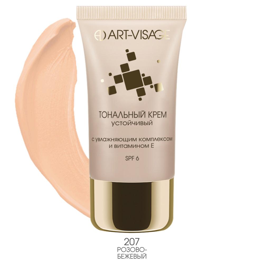 Art-Visage Тональный крем устойчивый с увлажняющим комплексом и витамином Е >тон 207 розово-бежевый