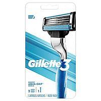 Gillette 3 Mach3 Aqua-Grip Handle с двумя запасными картриджами