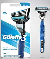 Gillette 3 Mach3 Aqua-Grip Handle с одним запасным картриджем