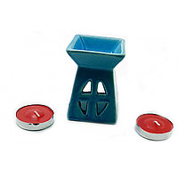 "Подарочный набор аромалампа Peruvian Natural Products ""Башня"" со свечами синий (12х8,5х7см)"