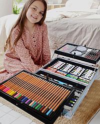 Стильный набор художника с масляными красками в металлическом кейсе с раздвижными полками (145 предметов)