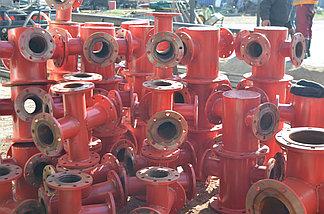 Подставка пожарная ППДФ Ду 250 стальная фланцевая двойная под пожарный гидрант, фото 3
