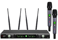 Профессиональная микрофонная радиосистема US-102 with aluminuim case (600-636MHZ)