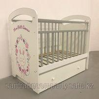 Детская кровать MON  AMUR с маятником +ящик,бежевый(без колес)
