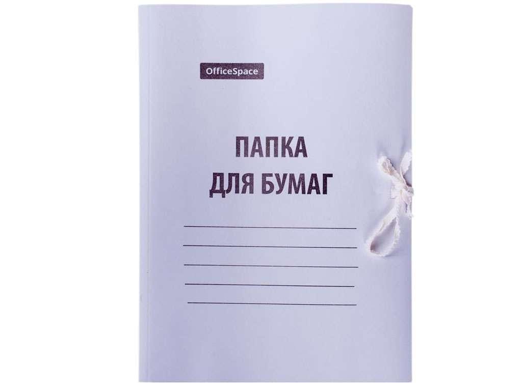 Папка с завязками OfficeSpace, А4 формат, мелованный картон, 300 гр, белая