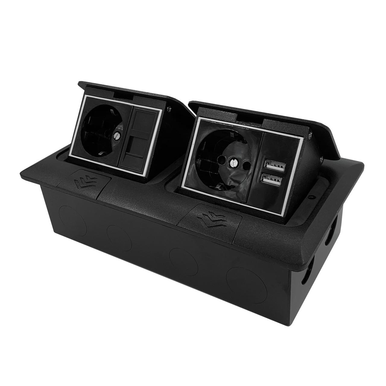 Shelbi Напольный/настольный лючок на 2х3 модуля, металл, чёрный