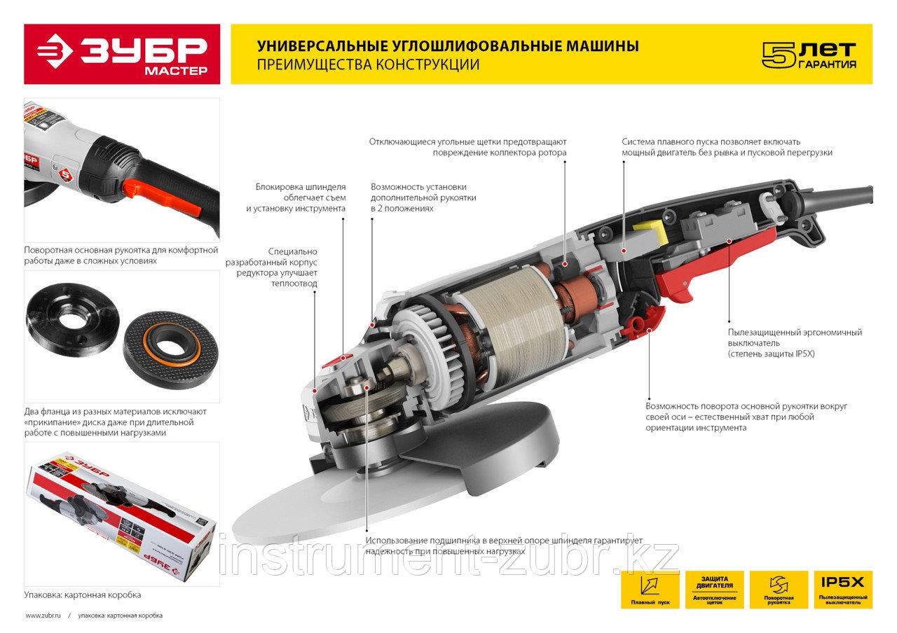Углошлифовальная машина (болгарка), ЗУБР УШМ-125-800 М3, 125 мм, 11000 об/мин, 800 Вт - фото 2