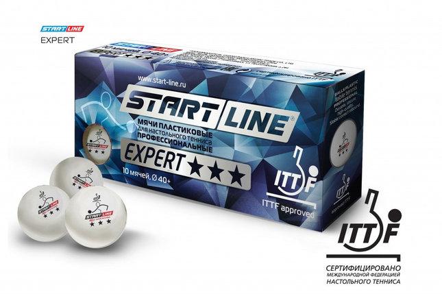 Шарики для настольного тенниса EXPERT 3* ITTF (10 мячей в упаковке, белые), фото 2