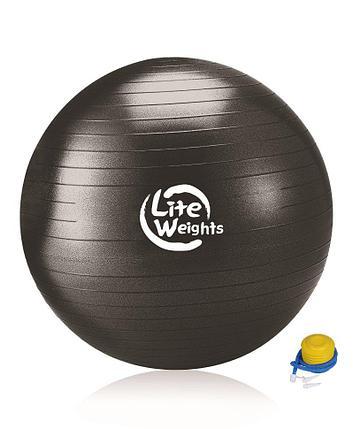 Мяч гимнастический 1869LW (100см, антивзрыв, ножной насос, черный), фото 2