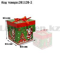 Подарочная коробка M(15х15х15) квадратная в новогодней тематике зеленого цвета с красной лентой Дед Мороз елка