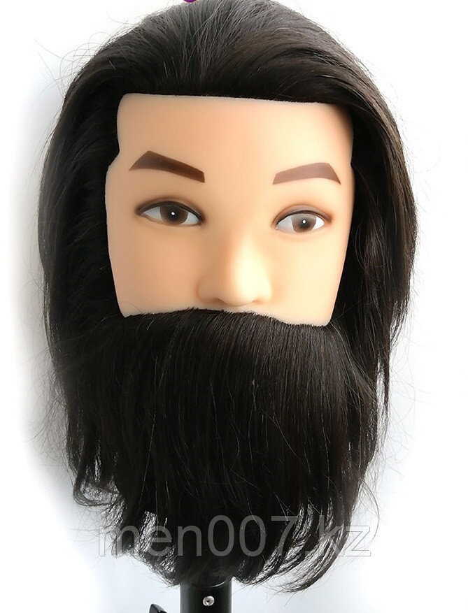 Манекен головы мужской 100% натуральный волос (брюнет)