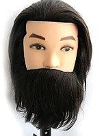 Манекен головы мужской 100% натуральный волос (брюнет), фото 1