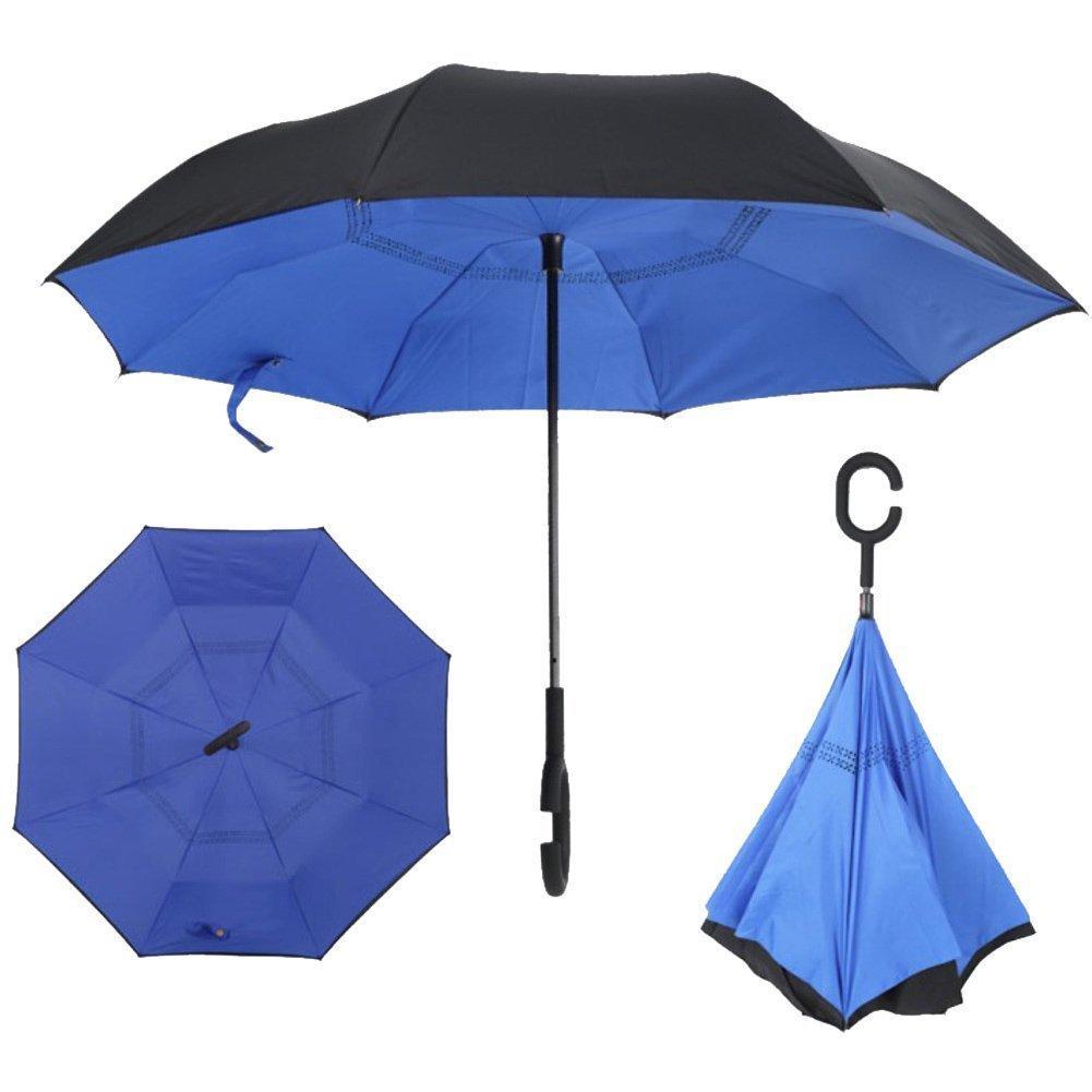 Умный зонт Наоборот, цвет голубой + черный