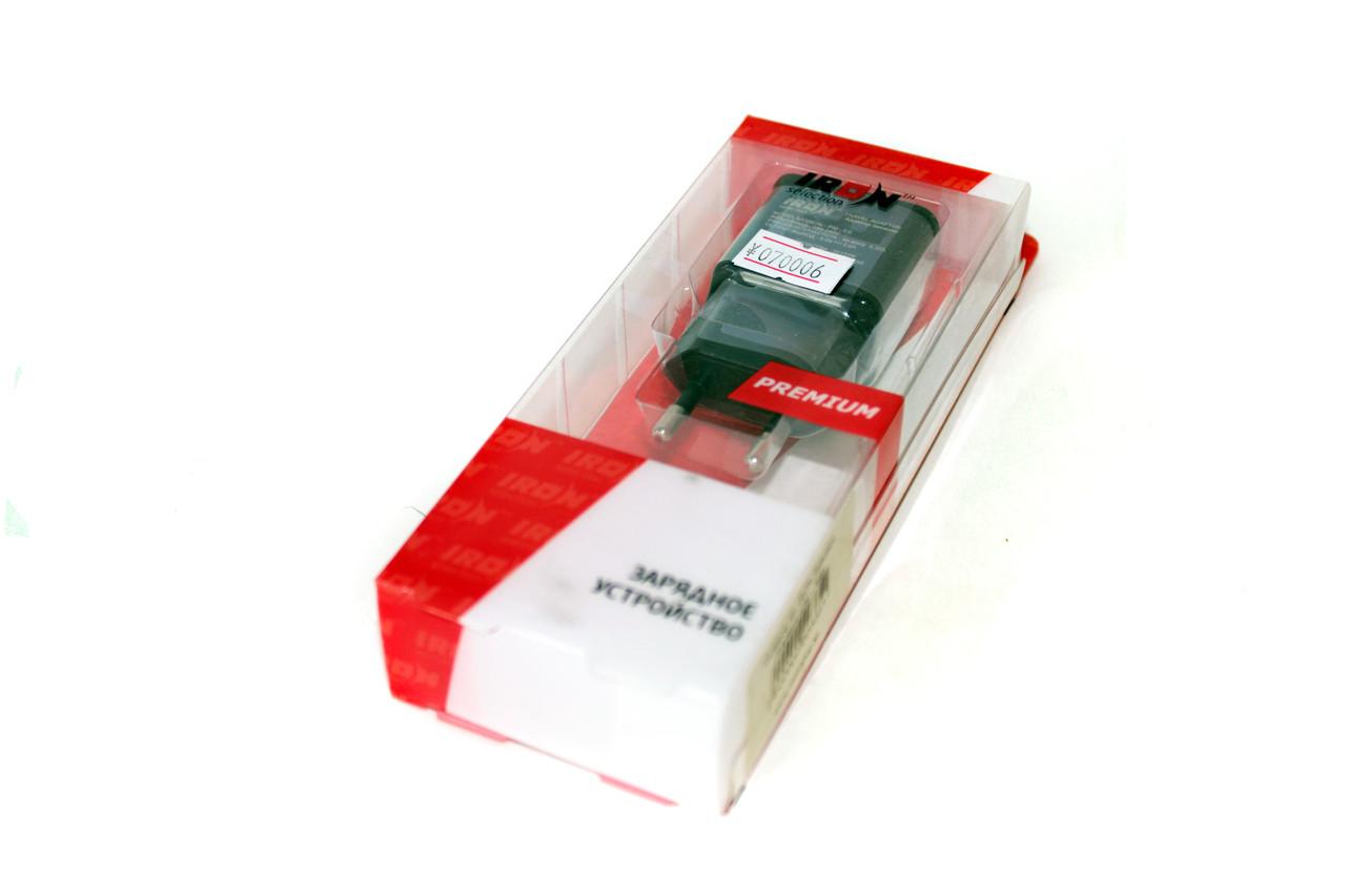 Сетевой USB адаптер IRON, 1 USB 5V 2A, черный