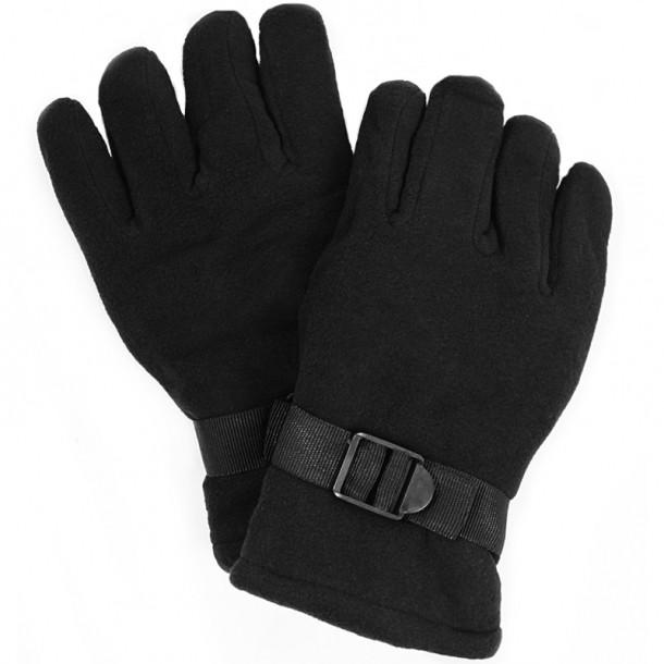 Зимние флисовые мужские перчатки (черные)