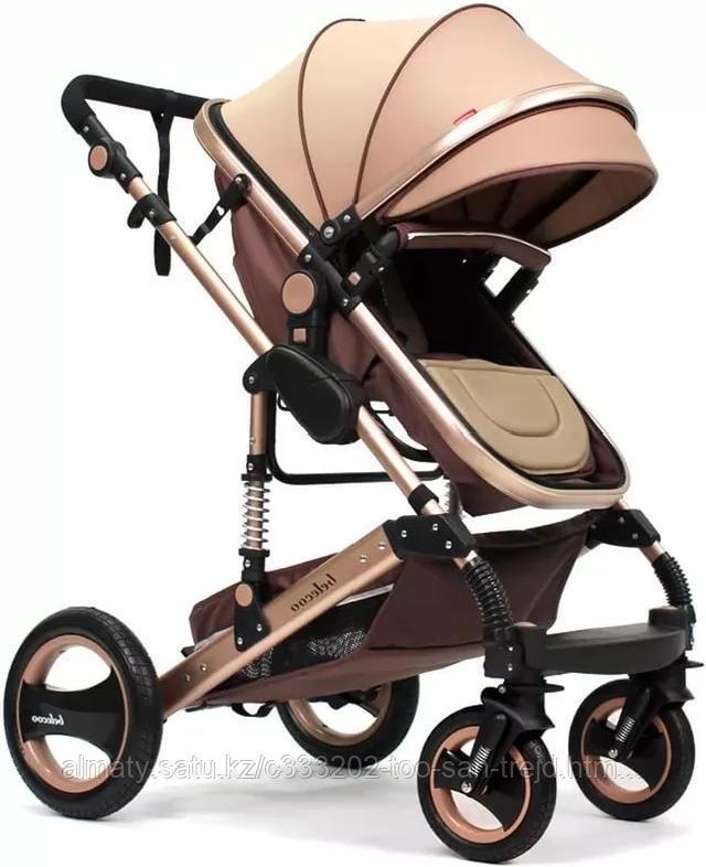 Детская коляска Belecoo 3 в 1 серебряная рама(бежевый,серый)+автолюлька