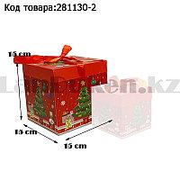 Подарочная коробка M(15х15х15) квадратная в новогодней тематике красного цвета с красной лентой елочка