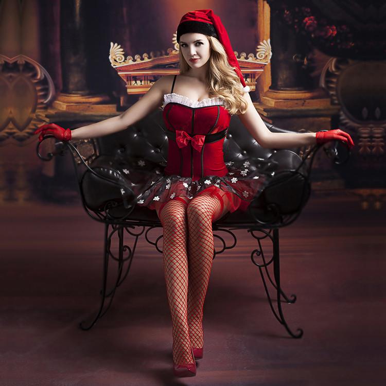 Рождественское платье + чулки, перчатки, шапка