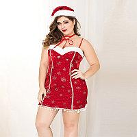 Новогоднее платье + шапочка и чокер ( 2XL-3XL), фото 4