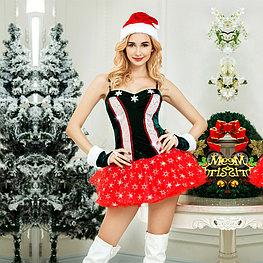 Новогодний костюм Snowflake (шапочка, перчатки, платье, стринги)