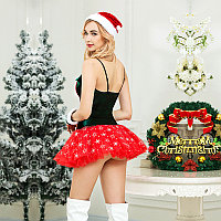 Новогодний костюм Snowflake (шапочка, перчатки, платье, стринги), фото 2