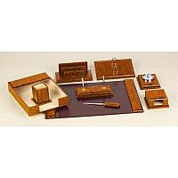 Набор настольный 8 предметов, дерево, кожа, коричневый