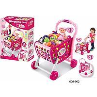 Детская тележка для супермаркета с продуктами 008-903а