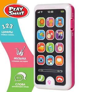 Смартфон интерактивный обучающий iPhone для детей «Умняга» Play Smart (Розовый)