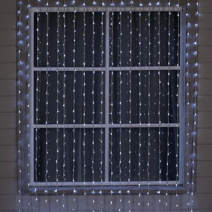 """Гирлянда """"Водопад"""" 2 х 6 м , IP44, УМС, белая нить, 1500 LED, свечение белое, 8 режимов, 220 В"""