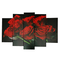"""Модульная картина на подрамнике """"Красные розы"""", 2 53×16, 2 70×24, 1 80×34, 120×80 см"""