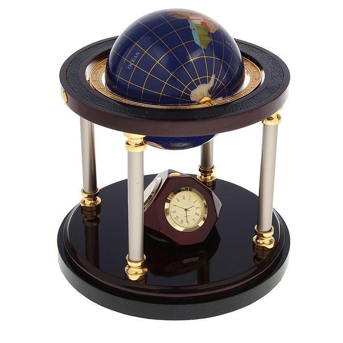Набор настольный 5в1 (глобус, визитница, блок д/бумаги, карандашница, часы), 19х40 см
