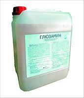 Глюзамин жидкий концентрат розового цвета, содержатся активные компоненты: глутаровый альдегид 12%, глиоксал