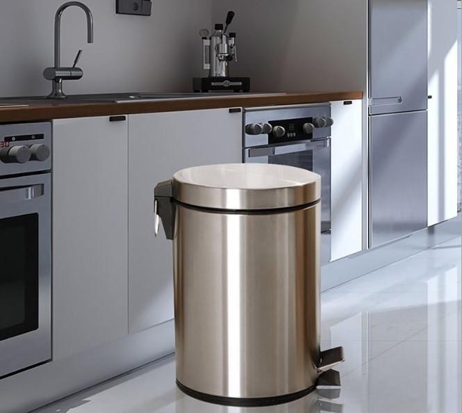 Педальная урна 12 литров металлическая (Хром).