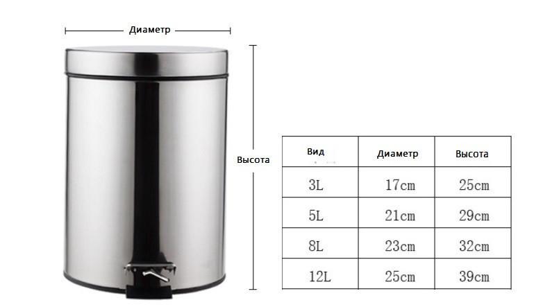 Урна металлическая с педалью 3 литра (Хром).