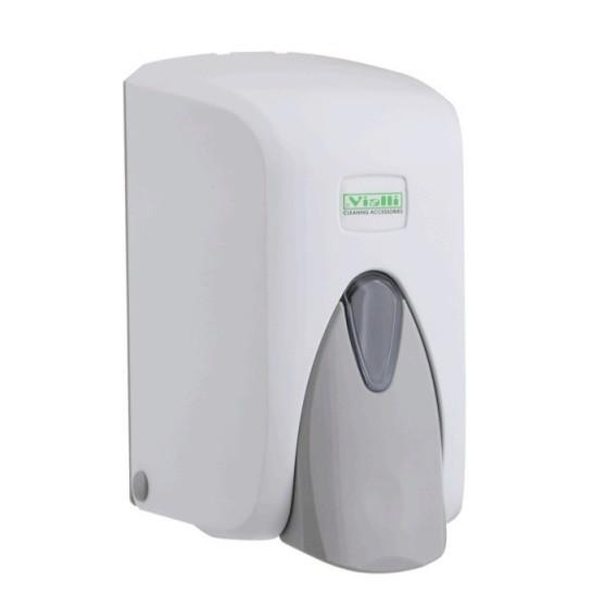 Дозатор (диспенсер) Vialli для пенки и жидкого мыла 500 мл.Белый цвет. Мыльница.