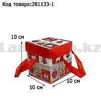 Подарочная коробка S(10х10х10) квадратная в новогодней тематике с красными лентами-ручками елочные игрушки