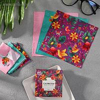 Набор салфеток для очков «Цветы», 3 шт