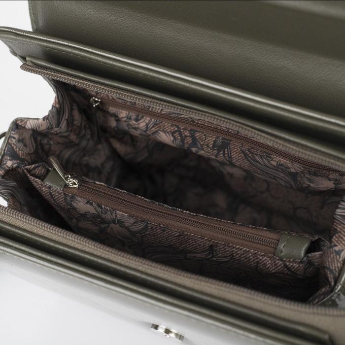Сумка женская, отдел на клапане, наружный карман, регулируемый ремень, цвет хаки - фото 3