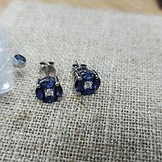 Пусеты с сапфиром и бриллиантами