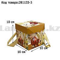 Подарочная коробка S(10х10х10) квадратная в новогодней тематике с красными лентами-ручками шампанское