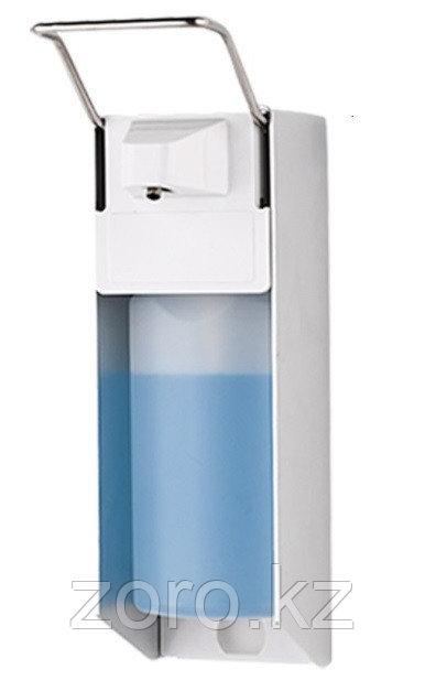 Металлический медицинский локтевой диспенсер для антисептика и жидкого мыла 1000 мл с евроканистрой