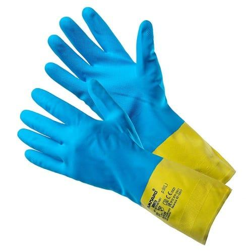 """Перчатки КЩС """"КОМЕТА"""" с внутренним с антибактериальным х/б напылением."""