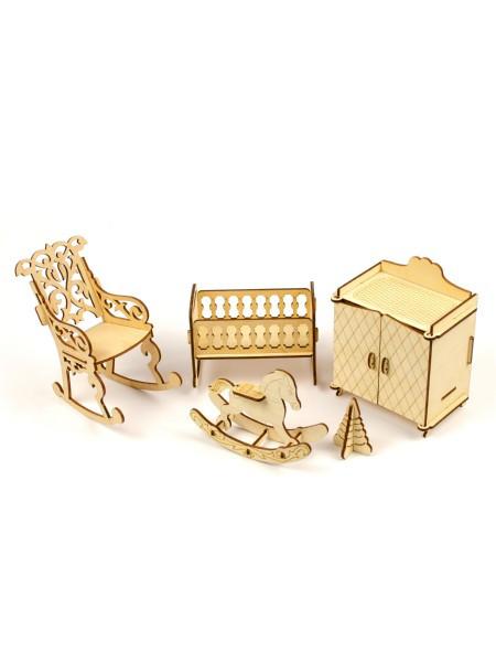 """Теремок Сборная деревянная модель мебели для кукол 30 см. """"Детская"""""""