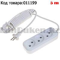 Удлинитель сетевой фильтр электрический без заземления 3 розетки 5 метров в длину Электро