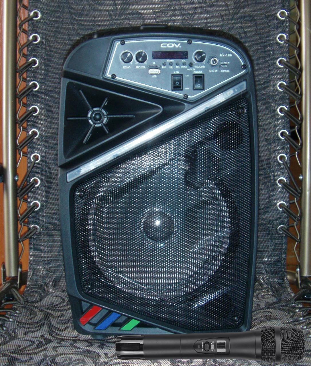 Колонка караоке беспроводная с беспроводным микрофоном Cov-108. В описании есть видео обзор колонки! - фото 5