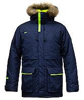 Куртка мужская утепленная, мех, 52 размер, цвет темно-синий